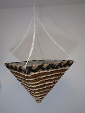 """14"""" SQUARE Wicker Rattan Striped Brown Hanging Basket Flower Planter Cone Shape"""