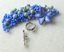 Polymer Clay Flower Bead Jade Czech Glass Gemstone Beads Pewter Bracelet Kit