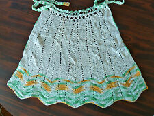 Vintage Crocheted Apron  Green Gold  & White    AS IS