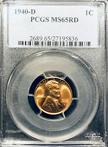 1940 D PCGS MS65 RD Lincoln Cent