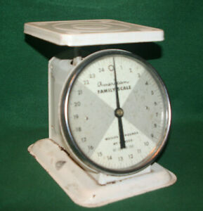 Vintage AMERICAN FAMILY SCALE Household, 25 Pound, Orig Cream Color Inv#GS27