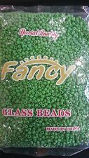 FANCY GLASS BEADS GREEN/ CUENTAS DE CRISTAL VERDE ELEKES COLLARES SANTERIA 1LBA