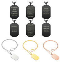 Personalised Dog Tag Stainless Steel Custom Engraved Name Pendant Necklace Gift