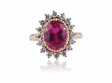 Classy 6.24 Cts Natural Diamonds Ruby Cocktail Ring In Solid 14Karat Yellow Gold