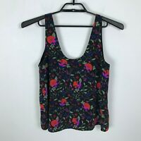 Joie Blouse Size S Red Black Pink Floral Silk Tank Top Womens Shirt Sleeveless