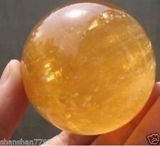 70MM NATURAL CITRINE CALCITE QUARTZ CRYSTAL SPHERE BALL HEALING GEMSTONE + stand