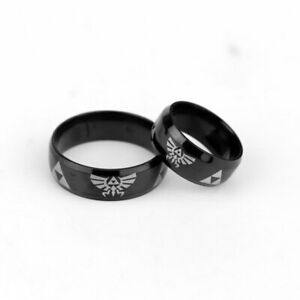 Legend Of Zelda Logo TRIFORCE REPEAT LOGO UNISEX Cool Black Stainless Steel RING