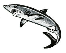 """Shark - Fishing - Left - Fully Embroidered Iron On Patch - 3 3/4""""W (9.5cm)"""