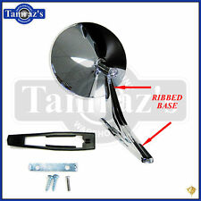 Chevy Chrome Round No Bowtie Rear View Ribbed Base Door Side Mirror & Hdw Each