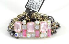 Fabulous New Stretch Bracelet With Clear & Pink Rhinestones NWT #B1440