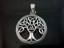 925 Sterling Silver Celtic Knot Family Tree of Life Round Charm Pendant
