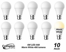 10 Pack Quality LED 6W Pearl Light Globes / Bulbs A60 GLS Bayonet B22