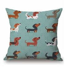 """Dog Puppy Dachshund Sausage Cute 17"""" Square Cushion Cover Pillow Case Blue Gift"""