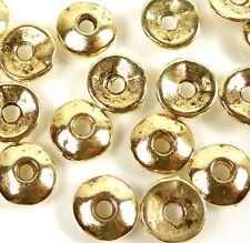 50 Antique Gold Pewter Washers Spacer Caps beads 7mm ~ Lead-Free ~