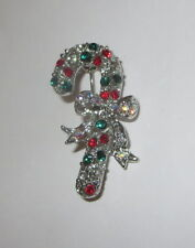 Candy Cane Pin Silver Tone Crystal Accents AB Christmas Brooch New