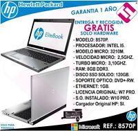 PORTATIL ORDENADOR OCASION HP 8570P I5 3210M 8GB 120GB SSD 15,6 PULGADAS W10 PRO