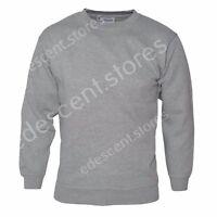 Mens Plain Sweatshirt Jersey Jumper Sweater Pullover Work Casual Leisure Top Lot