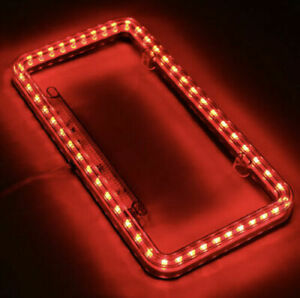 Universal 12V LED 60 Lights Acrylic Plastic License Plate Cover Frame Red