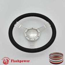 "15.5"" Steering Wheel Black Full Wrap Banjo Wrangler YJ Cherokee Jeep w/ Horn"