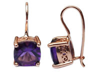 Genuine 9ct Rose Gold Natural Cushion-cut Amethyst Drop Earrings with closure