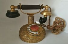 1927 Antique Working Bensabott Kellogg Desk Phone, Silver Sterling Case + Gilt