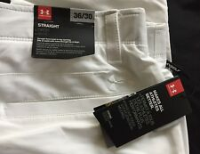 New UA Under Armour Men's Match Play Golf Pants Straight Leg, White 36/30 NWT