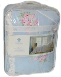 SIMPLY SHABBY CHIC Misty Blue Floral Roses TWIN COMFORTER SET NEW 1ST