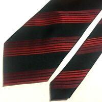 """Balentiano Luxury Necktie Tie 100% Silk Striped Black Red  60"""" L Made in Italy"""