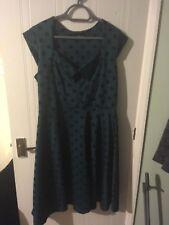 Dark Green Polka Dot Vintage Retro Rockabilly Dress - Size 18 - Perfect Con -