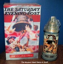"""Budweiser 1996 4TH OF JULY 11"""" Tall Pewter Lid Stein GM15! Low #772!"""