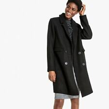 La Redoute Black Wool Tailored Double Breasted Coat Size 14 Pea Jacket RRP £99