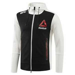 Reebok Official UFC League Fight Kit Full Zip Walkout Hoodie Chalk Black Red
