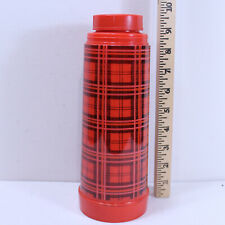 Vintage Red & Black Plaid Aladdin's 1 Pint Thermos Bottle missing cup