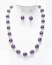 Burgundy Glass w/Natural Fresh Water Pearl Necklace/Earrings Set