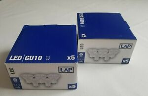 10 x LED GU10 bulbs 5W (2 boxes of 5) Brand New Unsealed
