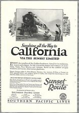 1926 SOUTHERN PACIFIC RR advertisement, Sunset Limited speeding steam locomotive