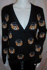MOSCHINO COUTURE Teddy Bear Policeman Cardigan Jeremy Scott Black SZ S