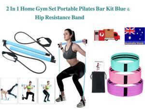 2 In 1 Home Gym Set Portable Pilates Bar Kit Blue & Hip Resistance Band Gift Set