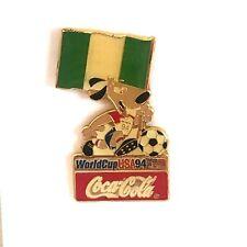 Coca Cola Nigeria World Cup 1994 Lapel Pin Flag Striker the Dog Soccer Ball