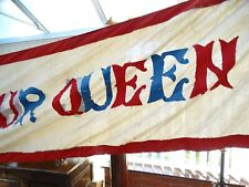 ANTIQUE 19C VICTORIAN 16FT BANNER 'GOD PROTECT OUR QUEEN' RED WHITE BLUE COTTON