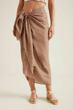NWT Seed Heritage Beige Linen Tassel Sarong Scarf One Size Draped Fringe Beach