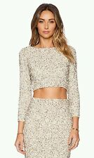 Alice + Olivia Lacey Embellished Cropped Top Beaded Stretch-Mesh  Size 0 XS NWT