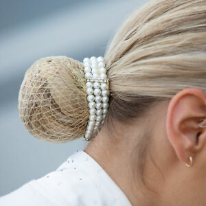Equetech Triple Pearl Bun Ring Hair Scrunchie - One size Dressage Hair Accessory