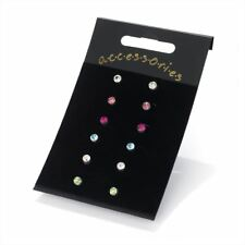 6 pairs 4mm Assorted Colour Crystal Diamante Ear Studs Earring Set