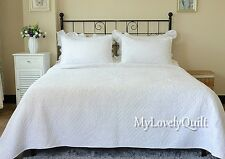 Luxurious Classic White Quilted Embroidery Bedspread Quilt 3pc Set Queen-New