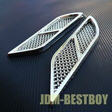 Universal CHROME Euro Style Fender Side Vent Hood Air Flow Grille Decorative