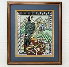 """Vintage Asian Falcon Needlepoint Picture Matted Framed 18"""" by 15.25"""" Falconry"""