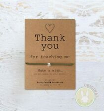 Thank you For Teaching Me Wish Bracelet* Friendship Card Teacher Tutor Assistant