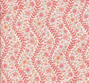 "PRETTY! ""PINK FLORAL/RED LEAVES"" DAVID TEXTILES - BTY"