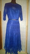 Hand Made Knitted Royal Blue Dress Size From 16-18